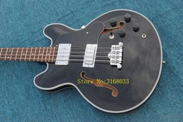 335 Black Guitar NZ - Black Bass Guitars 4 Strings Hollow 335 Electric Bass New Arrival Wholesale OEM From China