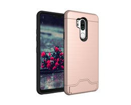 Chinese  hot mobile cell phone Luxury holder Kickstand Shockproof hard Wallet protect cover Brushed Card case for lg g7 thin q manufacturers