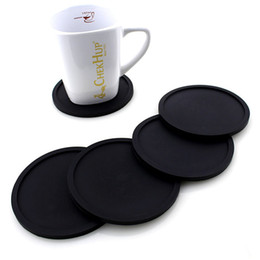 drinking water pots UK - Silicone Drink Coaster Non-Slip Rubber Coasters Cup Dish Mats Raised Lip Catches Water Pot Holder Durable Flexible Home Party Gifts