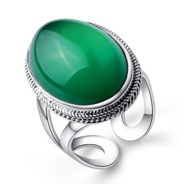 Chinese  2.3*1.7cm Female jewelry 925 Sterling silver natural Semi-precious stones green chalcedony Bohemia retro big rings lovers gift manufacturers