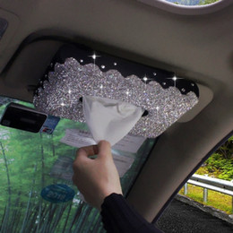 $enCountryForm.capitalKeyWord Australia - Bling Bling Sun Visor Type Car Tissue Box with White Crystals Hanging Paper Towels Tissue Container Case for Interior