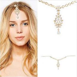 $enCountryForm.capitalKeyWord Australia - Rhinestone Bridal Hair Chain Pearl Forehead Headpiece Crystal Wedding Indian Head Jewelry For Girls Women Hair Accessories