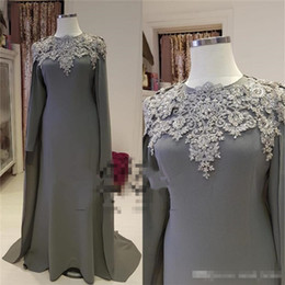 light grey formal mothers dress UK - Plus Size Grey Mermaid Mother of the Bride Groom Dresses 2018 Long Sleeves Wrap Vintage Lace Cheap Formal Evening Prom Party Gowns