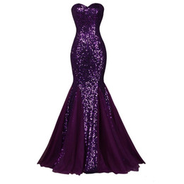 Sparkle Dress Up UK - Sparkling Sequined Purple Mermiad Evening Dresses Real Image Sweep Train Sleeveless Pleats Chiffon Sweetheart Formal Party Prom Gowns E267