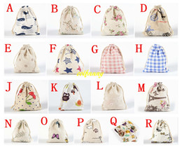 free shipping jewellery bags Australia - 50pcs lot Free Shipping 10*14cm Jewellery Gift Bag Wedding Cotton Printed Drawstring Bag Shopping Bags Small Pouch For Children