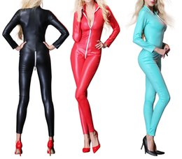 69348ea1b8e Women Slim Tight Wet Look Bodysuit Sexy Erotic Fetish Rompers One Piece  Faux Leather Long Sleeve Leotard Sexy Clubwear Fashion