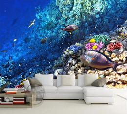 Cartoon Designs Wall Photos Australia - Customized Photo Wallpaper 3D Effect Stereo Underwater World Of Marine Fish Decal Living Children'S Room TV Background Wall Sticker