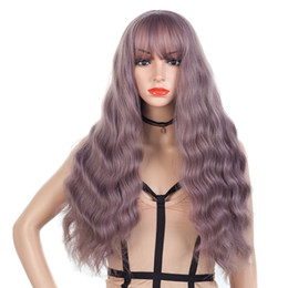 "Discount purple hair lolita cosplay - 31.5"" Pastel Purple Long Curly Wavy Hair Synthetic Full Wigs with Neat Bangs Cosplay Party Anime Lolita Wig"