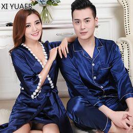 8df8ad7f16 XI YUAER Brand Couple Pajamas Men Women Sexy Satin Silk Pajama Pants Sets  Blue Long-Sleeved Pyjama Lounge Sets Lovers Sleepwear