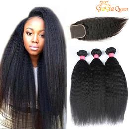 peruvian human hair extensions straight 2019 - Peruvian kinky straight Hair Bundles With Closure 3 Bundles Peruvian Human Hair Extensions Yaki Straight With 4x4 Lace C