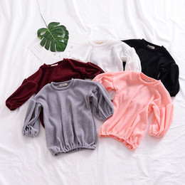 $enCountryForm.capitalKeyWord Canada - Baby Girl Tops Puff Sleeve Baby Girl Clothes Cotton Loose-Fitting Kids T-shirt Solid Colour Spring Autumn Girl Tee