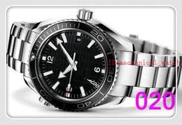 Orange Bezel Canada - Wholesale-Luxury New James Bond 007 Automatic Black Dial Orange Bezel Stainless Bracelet High Quality Mens Watch Men Sport Watches