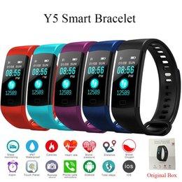 Venta al por mayor de 6 color Y5 Banda inteligente Pantalla en color Pulsera Monitor de ritmo cardíaco Pulsera Gimnasio Rastreador Bluetooth Pulsera inteligente Deporte Hombres Smartwatch