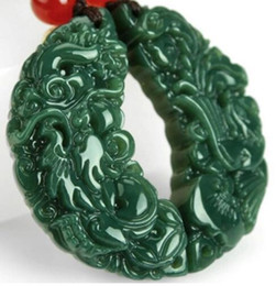 Hetian jade QINGYU longfeng pendant with men and women Lovers with couples natural jade pendant crescent