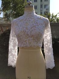 Beaded Wedding Jacket White NZ - Elegant Muslim Bridal Lace Bolero Jackets High Neck Ivory White Wedding Bolero Long Sleeve Lace Beaded Bridal Jacket Shrug 2019