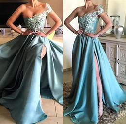 816ef99c8741c 2018 Elegant Sky Blue Prom Dresses Sexy Side Slit One-shoulder Cap Sleeves  Long Train Lace Appliques Evening Gowns Party Wears Cheap