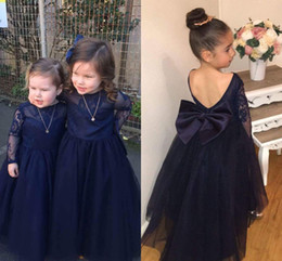 Big Girls Pageant Dresses NZ - 2018 Dark Navy Lace Flower Girl Dresses Long Sleeves Backless Ball Gown Big Bow Long First Communion Dress Girls Pageant Party Gowns Cheap