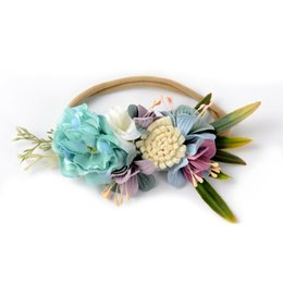 Chinese  Baby girls princess headbands wreath kids simulation flowers crown infant elastic garlands children pageant hair accessories F1394 manufacturers