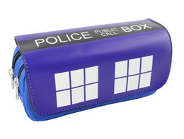 stationery leather 2018 - Dr Mysterious Pen Bag Purse Blue Box Big Capacity Double Zipper Pencil Case Stationery PU Leather Doctor Who Cosmetic Ba