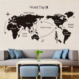 Ingrosso Adesivi murali in vinile mappa mondo viaggio nero per la camera dei bambini Decorazione Adesivi ufficio 3D carta da parati soggiorno camera da letto decorazione