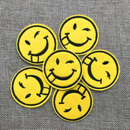$enCountryForm.capitalKeyWord Australia - Free shipping~New fashion Smiling face Badge Iron on of Stickers, Gum sew on patches Patch Wholesale, DIY Cloth Accessories