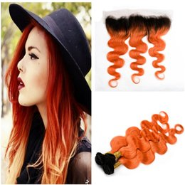 $enCountryForm.capitalKeyWord Australia - Orange Ombre Lace Frontal With Bundles Brazilian Virgin Human Hair Weaves Body Wave With Lace Frontal Two Tone Human Hair