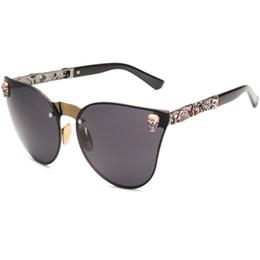 China Skull Women Cat Eye Sunglasses Vintage Oversized Rimless Mirror Cateye Eyewear supplier sunglasses skull suppliers