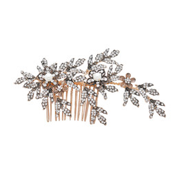 Evening Hair Combs Australia - 1pcs Bride Hair Combs Crystal Elegant Flower Hair Clip Accessories Jewelry Headwear for Evening Party Wedding Prom