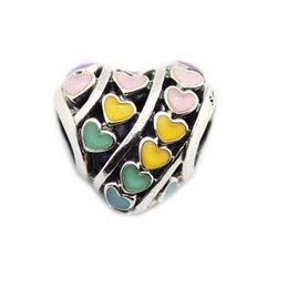 $enCountryForm.capitalKeyWord UK - Woman Beads Multi-Color Hearts Charm Fit European Snake Chain Bracelet & Bangle Sterling Silver Jewelry Charms for jewelry making