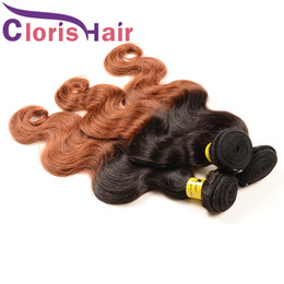 Discount auburn human hair wavy - Colored Medium Auburn Body Wave Ombre Weave Bundles Cheap Peruvian Virgin Human Hair Dark Roots 1B 30 Blonde Wavy Hair E