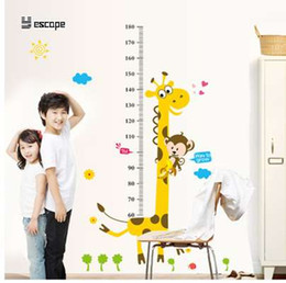 Wholesale Cartoon Measure Wall Stickers For Kids Room Giraffe Monkey Height Chart Ruler Decal Nursery Home Decor Wall decals children gi