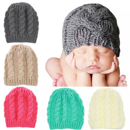 Baby Beanies Patterns Australia - 5 Colors Kids knitted hat Solid colors Infants Baby Braids pattern knitting warm Beanies for 6m-3T boys girls ins hot