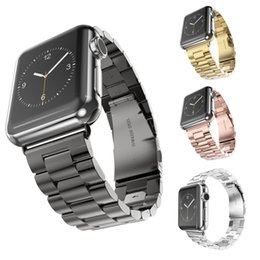 Discount apple watch 38mm classic - 42mm 38mm For Apple Watch iwatch series 1 2 luxury Stainless Steel Strap 3 Bead Classic Buckle Link Bracelet Watch Band
