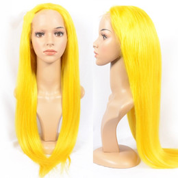 Long Colored Hair Australia - Yellow colored human hair full lace wig and lace front wig silky straight yellow hair color