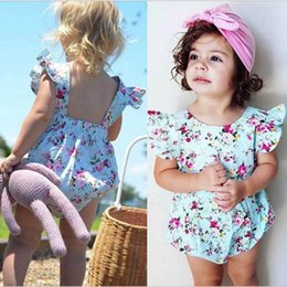 Discount princess toddler romper - Kids Clothing Girls Floral Print Rompers Baby Fly Sleeve Jumpsuits Toddler Fashion Onesies Newborn Princess Romper Baby