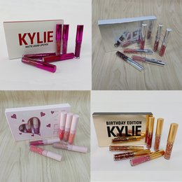 Wholesale 6pcs set Kylie lipstick Valentine holiday pink Birthday Edition lip Kit lipgloss Kylie Matte Liquid Lipsticks Cosmetics