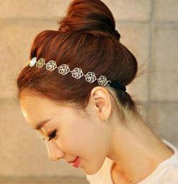 $enCountryForm.capitalKeyWord NZ - DHL Womens Fashion Metal Chain Jewelry Hollow Rose Flower Elastic Hair Band Headband accessory Party Decoration
