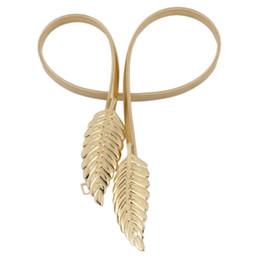 $enCountryForm.capitalKeyWord Canada - Stylish Leaf shape Women Belt Metal Leaves Waistband Clasp Front Stretch Waistband Gold Silver elastic cummerbund Chain Belt