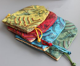 High End Drawstrings NZ - Wave Small Drawstring FabricGift Bag High End Chinese Silk Jewelry Pouch Packaging Bags Party Wedding Favor bags with Lining 13x15cm 2pcs