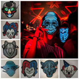 2017 masquerade masks M20 colors Halloween Cosplay EL Mask Led Sound Control Creative Cold Light Masquerade Portable Flexible With Many Style Masks MMA532 12pcs