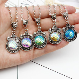 $enCountryForm.capitalKeyWord Australia - Simple Lucky Colorful Mermaid Fish Scale Necklace Beautifully Carved Magic Mirror Pendant for Women's Jewelry