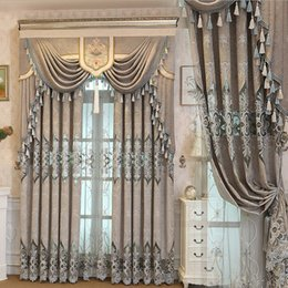 Modern Fabric For Curtains Australia - 9002 European Luxurious Modern Embroidered For Living Room Home Decoration Ready-made Window Curtain Fabric Treatment