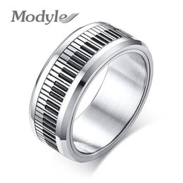 music man 2019 - Modyle Rotatable Piano Key Ring For Men Stainless Steel Band Stylish Spinner Band Music Lover Musician Gift Jewelry disc