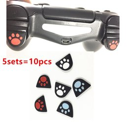 Ps4 r2 online shopping - 10pcs Removable Cat Paw Custom Design Silicone Trigger Buttons Sticker Case Cap Cover for PS4 Controller L2 R2 Button Protective