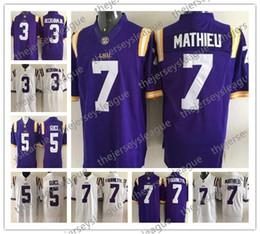 NCAA LSU Tigers  3 Odell Beckham Jr.  5 Derrius Guice  7 Tyrann Mathieu  Leonard Fournette Purple White Stitched College Football Jerseys edd993b82