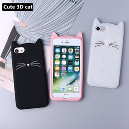 TransparenT cuTe carToon case online shopping - Cute D Silicone Cartoon Cat Pink Black Glitter Soft Phone Case Cover Coque Fundas For iPhone Plus S Plus S plus