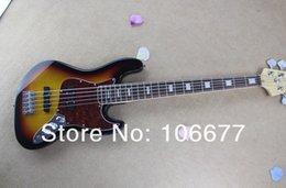 Großhandel Freies Verschiffen Heißer Verkauf Gitarre Fabrik Hohe Qualität F Jazz Bass 5 String Sunburst Palisander Griffbrett Bass Gitarre Auf Lager