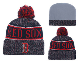 Woman Fans Australia - 2018 New Sport red sox Baseball Skullies Hat Pom Cuffed Boston Knitted Hats With Embroidered Team Logo Fans Fashion Winter Women Beanies
