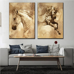 Oil paint set hOrses online shopping - 2 Set Modern European Oil Painting Horse On Canvas Wall Art Picture Wall Pictures for Living Room Modern Wall Painting Y18102209