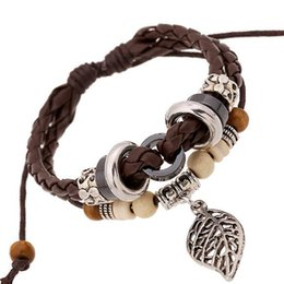 Wholesale Handmade Adjustable Leather Bracelets With Wooden Beads Woven Braided Bangle Fashion Punk Wax Rope Cuffs Alloy Charm Unisex Bracelet
